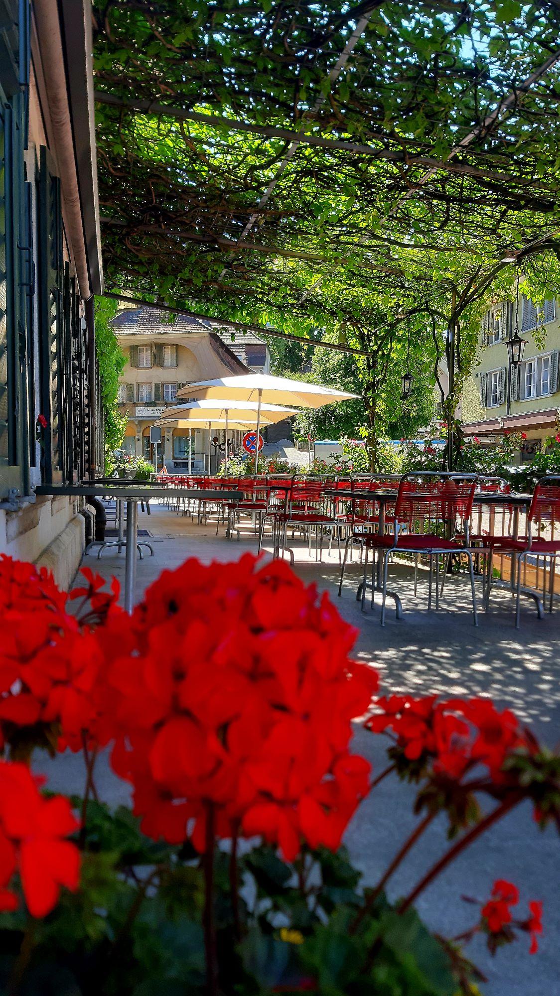 Terrasse mit Blumen